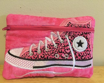 Embroidered zipper pouch cosmetic toiletry bag hot pink with cheetah print high top shoe