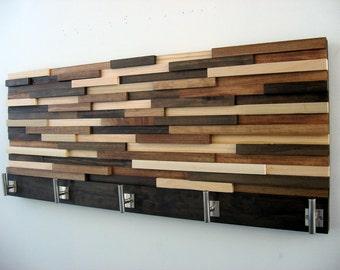 Modern Wood Coat Rack, Rustic Coat Rack, Modern Coat Hooks, Home Decor, Wood Wall Art, Towel Rack 14X34