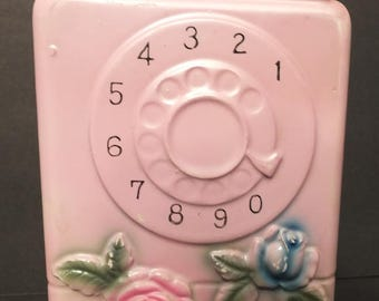 Vintage Pink Rotary Dial Pay Phone Coin Bank Pink Telephone Bank