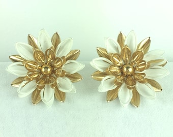 Vintage Earrings-flowers-white-gold-statement-big-filigree-Signed jewelry-Mad Men-1950s gift