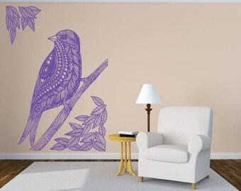 Wall Art Vinyl Sticker Tribal Bird Robin Crow Raven Nest Branch Tree House Parrot Wild Life Forest ZX097