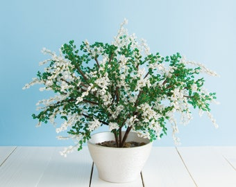Artificial bonsai tree Blooming white lilac bush Beaded wire French Seed Miniature Sculpture Statue Pot Plant Flowering Spring