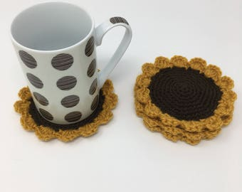 Set of sunflower coasters, crochet sunflower coasters