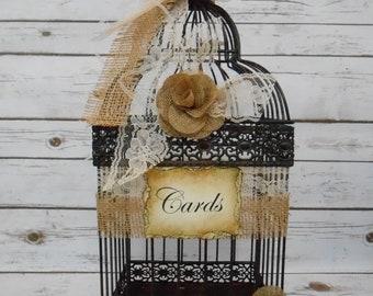Burlap And Lace Country Wedding Birdcage Wedding Card Holder / Wedding Decorations / Barn Wedding Decor / Rustic Wedding Card Box