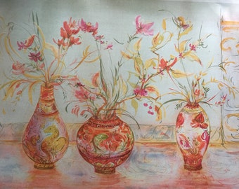 LARGE RARE Edna Hibel Print Signed Numbered Limited EditionLithograph FLORAL Print Orange Red Yellow