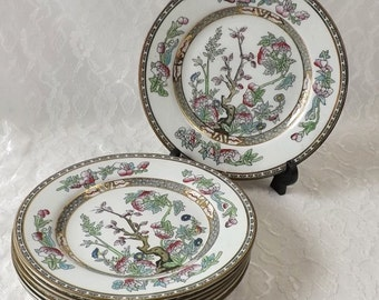 7 Meakin Indian Tree Salad Plates, Vintage 8 Inch Dishes, Hanley England