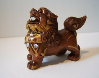 netsuke FOO DOG guardian of the emperor, Reserved for  ZoeDesignsVintage   wooden, hand carved, hand painted, hand embellished,TREASURY item