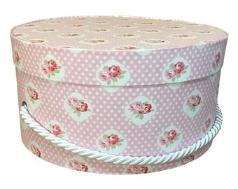 Hat Box in Pink Rose and Polka Dot Floral Ready to ship, Round Box, Cottage Decor, Fabric Covered Box, Box Lid, Keepsake Box, Decorative Box