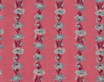 Vintage Feedsack Floral Feed Sack Flour Sack Fabric Pink Gray 37 x 44 inches