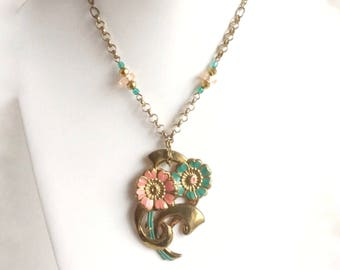Brass Flower Necklace Large Floral Pendant - Coral, Seafoam Green Petals & Faceted Beads, Antique Brass Chain, Handmade w Vintage Materials