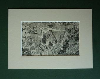 1950s Vintage Jungle Girl Print - Retro Tarzan & Jane Picture - African Jungle Decor - Jungle Treehouse Print - Jungle Art - Jungle Gift