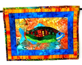 Wall Art Quilt Fish Wall Hanging Batik Beach House Tropical Handmade Aqua Orange