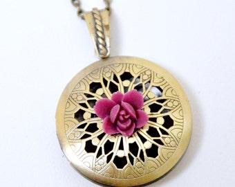 Pink Flower Locket Necklace, Antique Brass Filigree Locket, Burgundy Flower Locket, Dark Pink Lotus Flower Necklace, Floral Locket Pendant