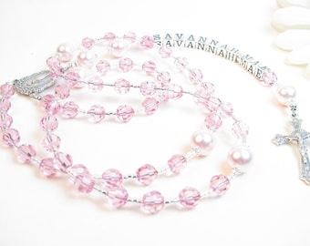 Girl's Rosary - Personalized Rosary - Pink Rosary - Child Rosary - First Communion Rosary - Confirmation Rosary - Girl Baptism Gift