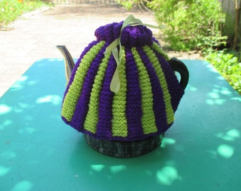 Vintage Tea Cozy - Green and Purple Stripes - Vintage Style for your teapot.