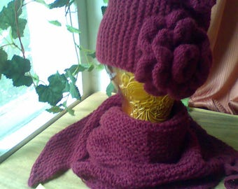 Hat with Flower Knitted Hat and Triangle Bandana Scarf set Knit hat slouchy burgundy Triangle bandana scarf Mother's Day gift