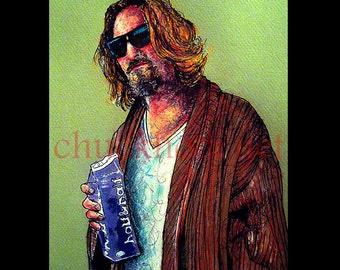 "Print 11x14"" - The Dude - The Big Lebowski Bowling Gun Comedy Jeff Bridges Million Lowbrow Pop Art Portrait Funny Jesus Milk Abides Beard"
