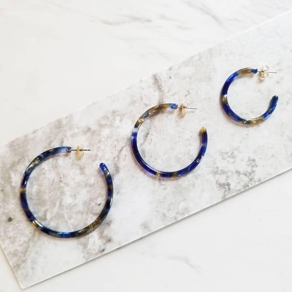 Pacific Blue Hoop  Earring, Simple Minimalist Tortoise Earrings by Etsy