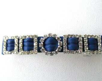 Royal blue leather barrette, blue leather barrette with diamantes, girls blue hair slide, gift for her, royal blue barrette with sparkles