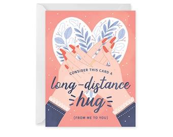 Long Distance Hug Card - Friendship Card - Love Card - Hug Single Card Blank Inside