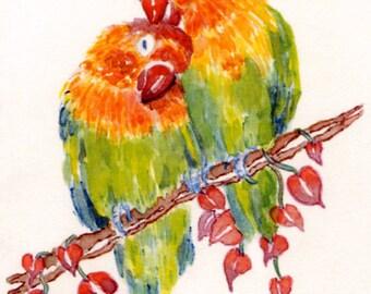 Lovebirds Valentine's Day Card, By Michelle Kogan, Love Cards, Note cards,  Children's Art, Bird, Art and Collectibles, Birthday Cards