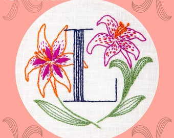 Monogram Flower PDF Pattern - L is for Lily