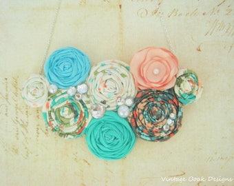 Boho Flower Necklace, Boho Statement Necklace, Floral Jewelry, Boho Bib Necklace, Pastel Flower Jewelry,Fabric Jewelry, Boho Textile Jewelry