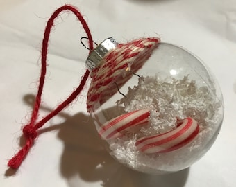 Christmas candycane ornament beach sand coastal nautical snow