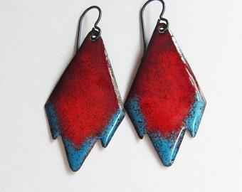 Red and turquoise blue tribal earrings Geometric bohemian jewelry Niobium enamel dangle earrings Aztec southwestern boho drops
