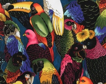 Birds of a Feather Parrots - Alexander Henry Scenes 1 Yard Fabric