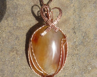 C-55 Carnelian Copper Wire Wrapped Pendant Necklace, Carnelian Pendant, Carnelian Necklace, Carnelian Jewelry, Carnelian Cab
