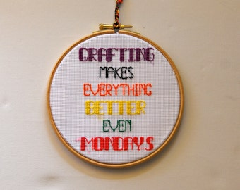 Crafting room decoration. Embroidered hoop crafters quote. Completed cross stitch. Hoop Wall art. Crafter multicolor gift. Housewarming gift