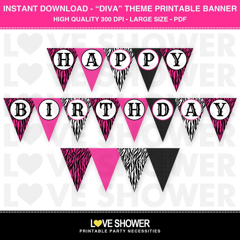INSTANT DOWNLOAD Diva Hot Pink Zebra Print Happy Birthday