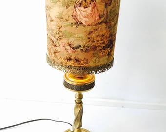 Antique Victorian Brass Lamp. With Unique Victorian Lampshade. Vintage Shade.  Brass Tablelamp.
