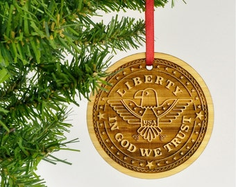 USA Liberty Ornament: Patriotic Military Christmas Ornament, In God We Trust, Bamboo
