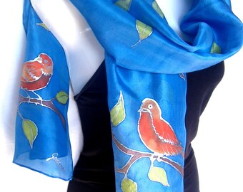 Silk Scarf Hand Painted, Blue Silk Scarf Handpainted, Birds On The Tree, Medium Blue Orange, Gift For Her