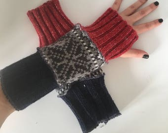 Upcycled fingerless gloves, arm warmers, texting gloves, wrist warmers, driving gloves, office gloves, typing gloves