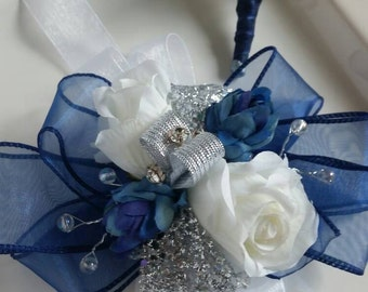 Navy, Silver  and White Wrist Corsage and Matching Boutonniere Prom Set Artificial Flowers  Ready To Ship. See Description