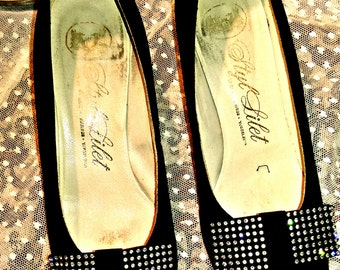 Shoes black female black bow adorned with rhinestones