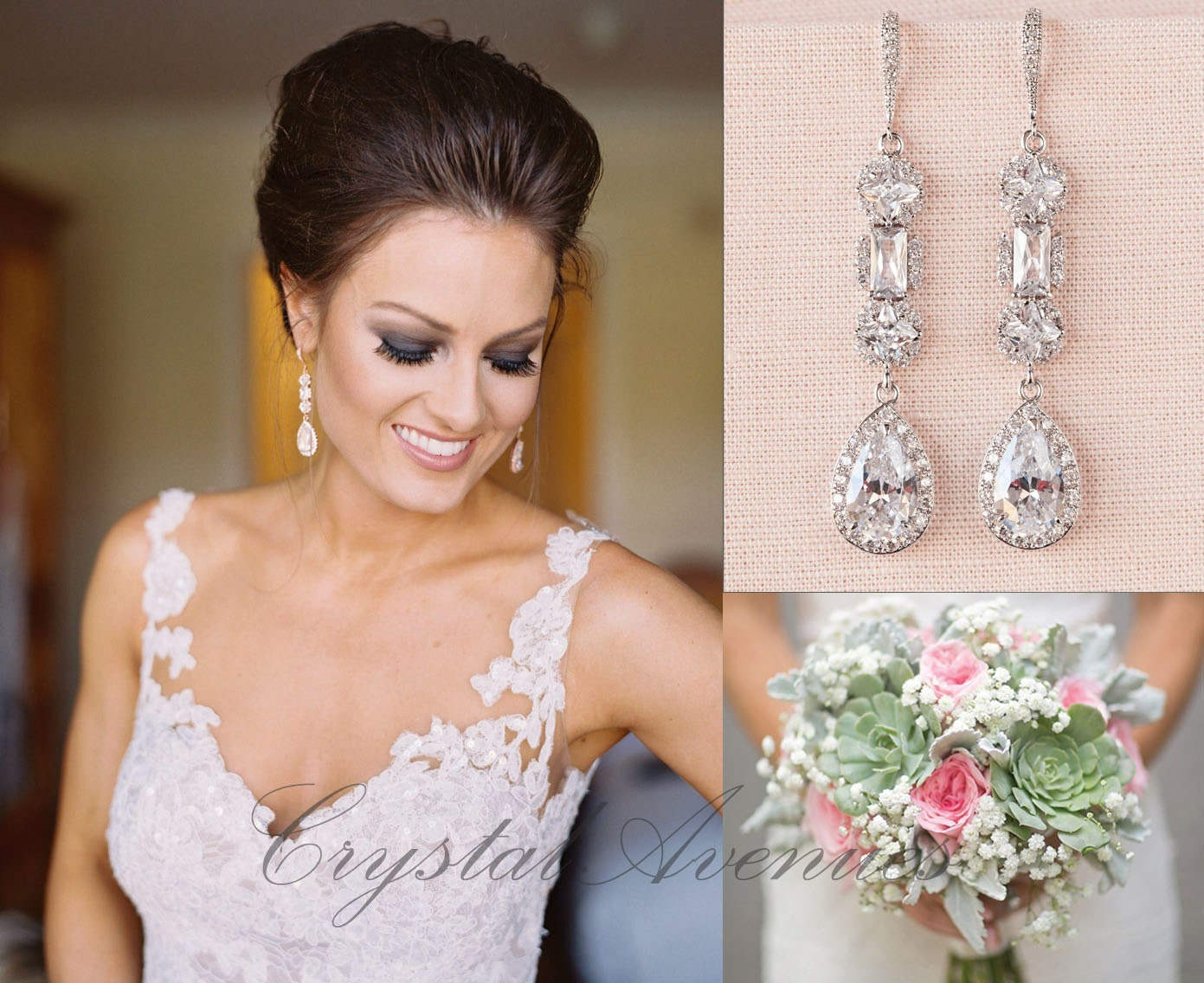 Crystal Bridal Earrings Crystal Wedding earrings Long