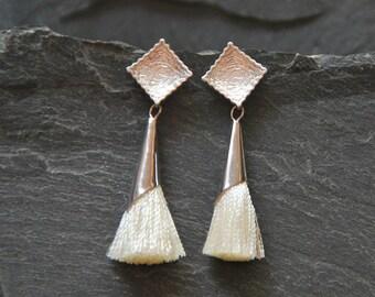Ivory tassel earrings, Textured silver post earrings, Tassel Jewelry, Boho Chic Earrings, Bohemian jewelry for women, 1142-6