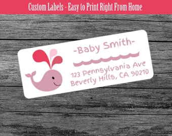 Baby Pink Whale - Custom Return Address Labels Print From Home
