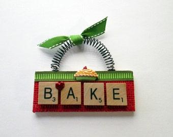 Bake Love to Bake Scrabble Tile Ornament
