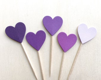 24 Purple Heart Cupcake Toppers, Party Decor, Weddings, Showers, Sofia the First, Princess Party, Love, Baby, Girl,  Valentine's Day