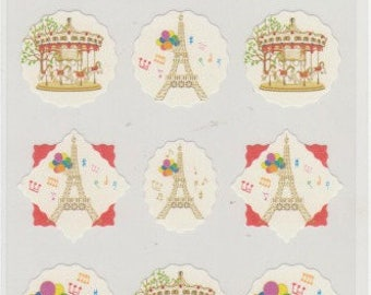 Eiffel Tower Stickers - Merry Go Round Stickers - Hallmark - Reference A5475-76