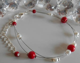 Wedding 2 bracelet ranks passion red and white pearls