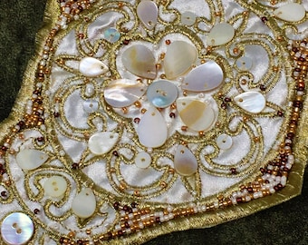 Gold Sea Shell Beaded Belt Sew On Applique