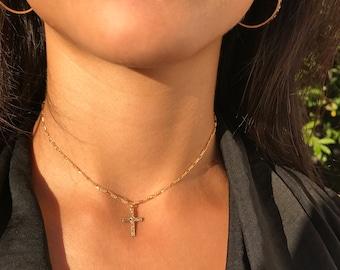 Cross Necklace / Gold Cross Necklace / Gold Cross Choker / Gold Cross Pendant / Tiny Cross / Gold Filled Cross Choker / Cross Necklace Woman