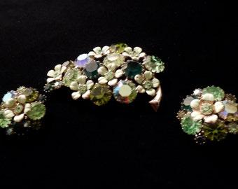 Vintage Weiss Brooch and Earrings.  Gorgeous two tones of green rhinestones, AB rhinestones and pale green enamel work. Weiss is wonderful!