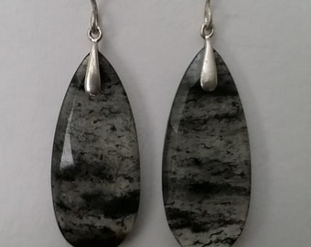 Moss agate, Sterling Silver, Earrings.